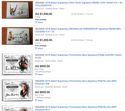 select afl supremacy ebay prices