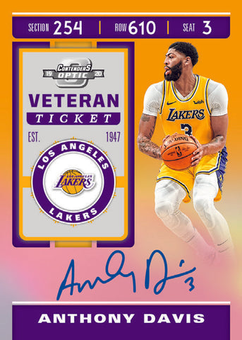 anthony davis optic contenders lakers panini 2019 20