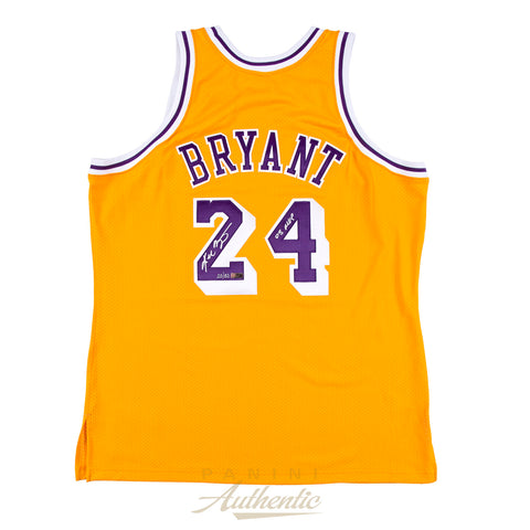 "Kobe Bryant Panini Authentic Autographed Gold Mitchell & Ness 08 Lakers Jersey with ""08 MVP"" Inscription - Limited Edition to 50-Cherry Collectables"