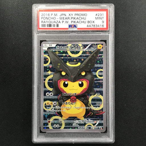 PSA 9 MINT Poncho-wearing Pikachu - 231/XY-P - Rayquaza Poncho Pikachu Box Promo-Cherry Collectables