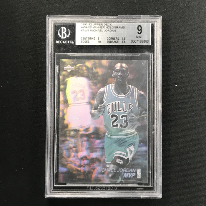 1991-92 Upper Deck MICHAEL JORDAN Award Winner Hologram BGS 9-Cherry Collectables