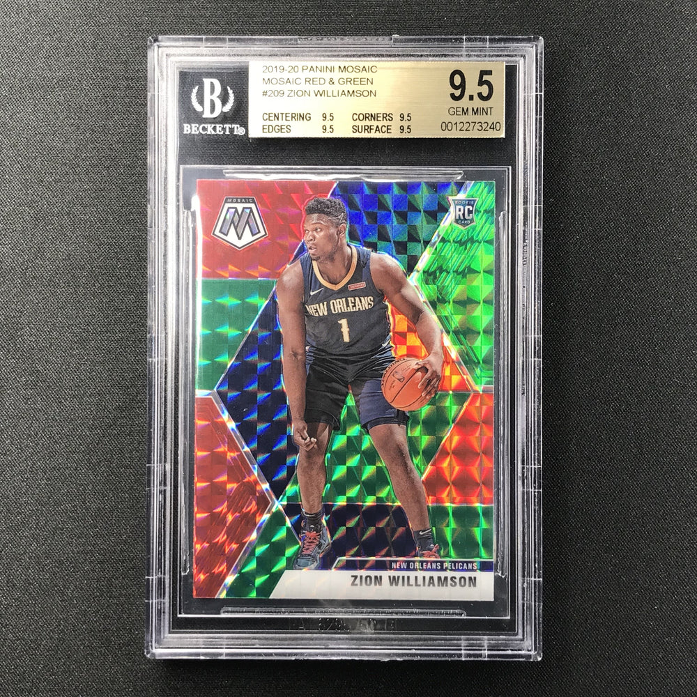 2019-20 Mosaic ZION WILLIAMSON Red Green Prizm Rookie BGS 9.5 TRUE GEM-Cherry Collectables