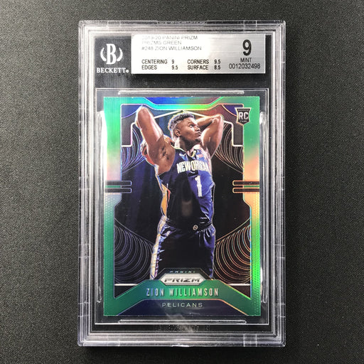 2019-20 Prizm ZION WILLIAMSON Green Prizm Rookie BGS 9-Cherry Collectables