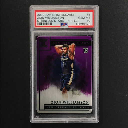 2019-20 Impeccable ZION WILLIAMSON Stainless Stars Purple Rookie 16/49 PSA 10-Cherry Collectables