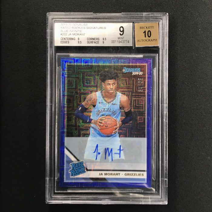 2019-20 Donruss JA MORANT Rated Rookie Auto Blue 34/35 BGS 9/10-Cherry Collectables