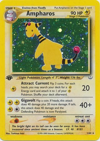 Ampharos - 1/64 - Holo 1st Edition