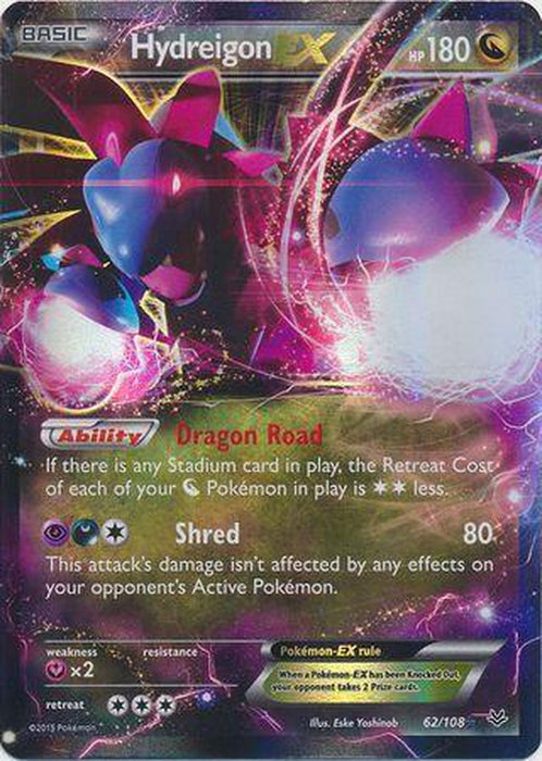 Hydreigon EX - 62/108 - Ultra Rare - Roaring Skies-Cherry Collectables