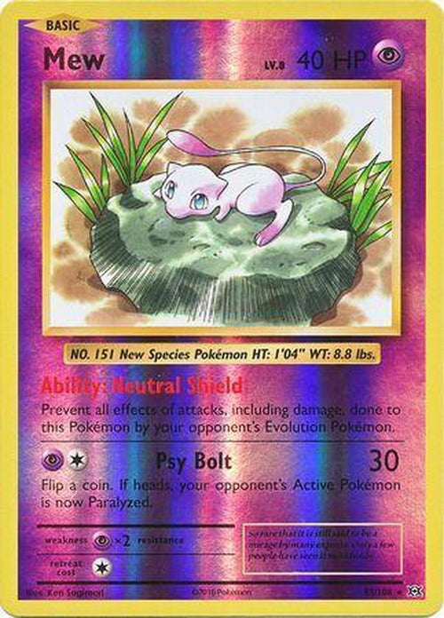 Mew - 53/108 - Rare Reverse Holo - XY12-Cherry Collectables