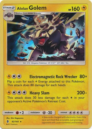 Alolan Golem - 42/145 - Holo Rare-Cherry Collectables