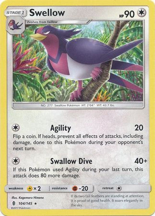 Swellow - 104/145 - Rare-Cherry Collectables