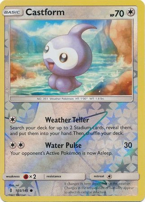 Castform - 105/145 - Common Reverse Holo-Cherry Collectables