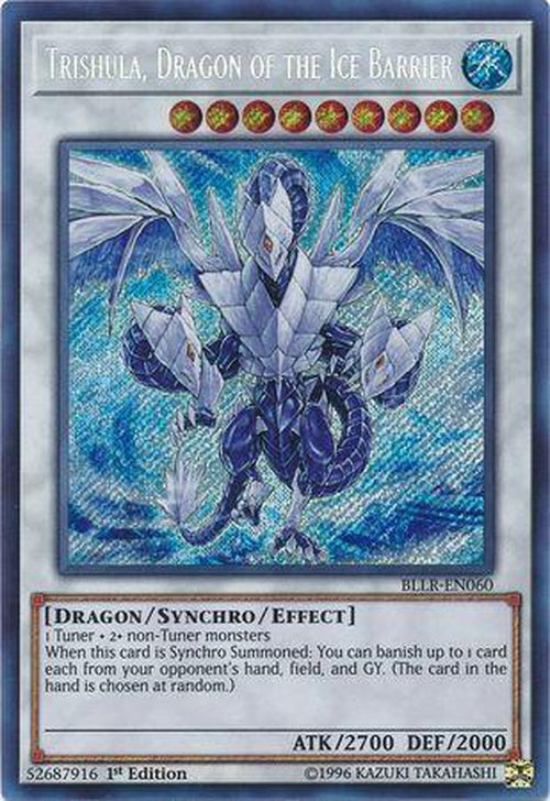 Trishula Dragon of the Ice Barrier - BLLR-EN060 - Secret Rare 1st Edition-Cherry Collectables