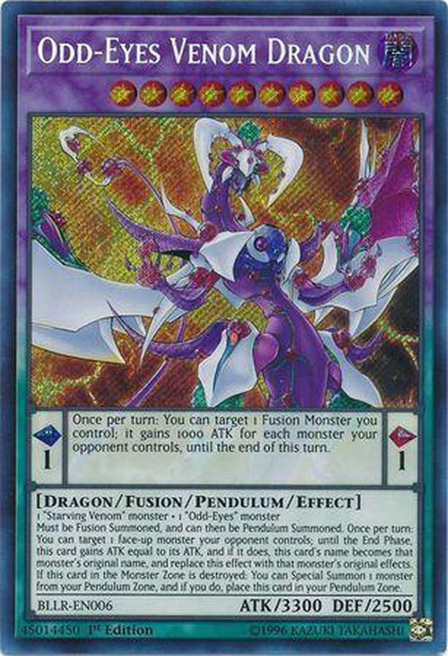 Odd-Eyes Venom Dragon - BLLR-EN006 - Secret Rare 1st Edition-Cherry Collectables