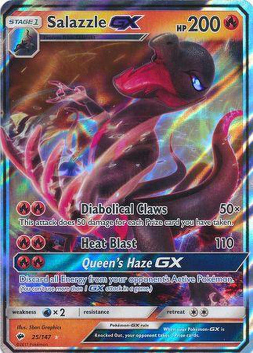 Salazzle GX - 25/147 - Ultra Rare - Burning Shadows-Cherry Collectables