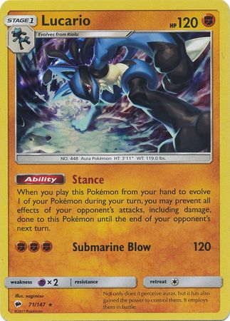 Lucario - 71/147 - Holo Rare-Cherry Collectables
