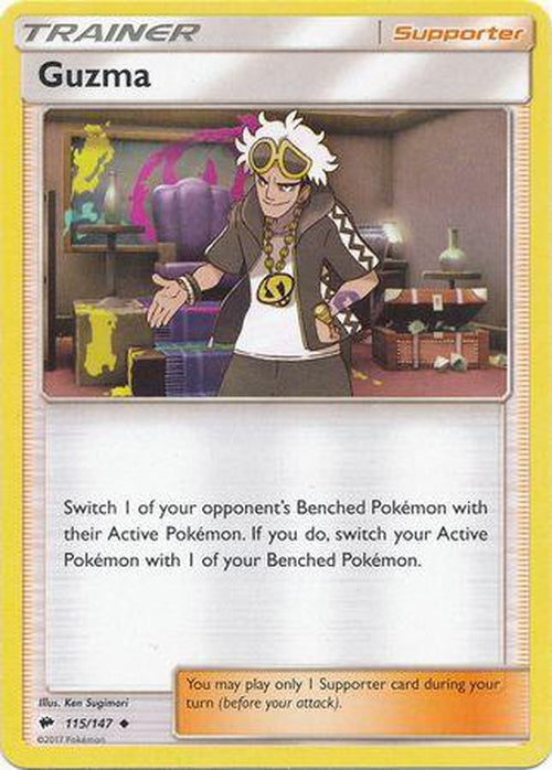 Guzma - 115/147 - Uncommon - Burning Shadows-Cherry Collectables