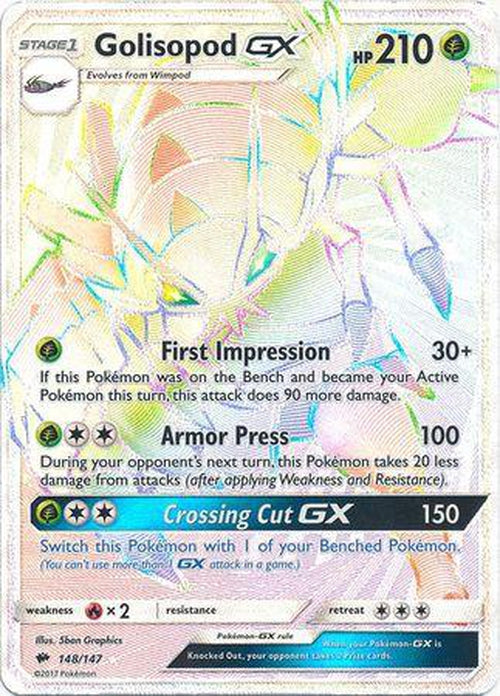 Golisopod GX - 148/147 - Hyper Rare - Burning Shadows-Cherry Collectables