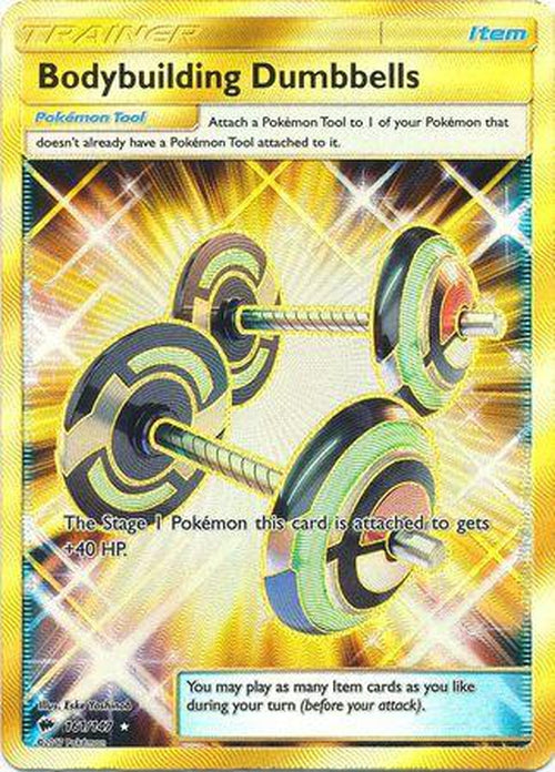 Bodybuilding Dumbbells - 161/147 - Secret Rare - Burning Shadows-Cherry Collectables