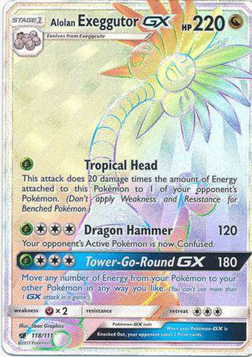 Alolan Exeggutor GX - 118/111 - Hyper Rare-Cherry Collectables