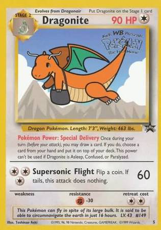 Dragonite - 5 - Sealed WB Movie Yellow Promo-Cherry Collectables