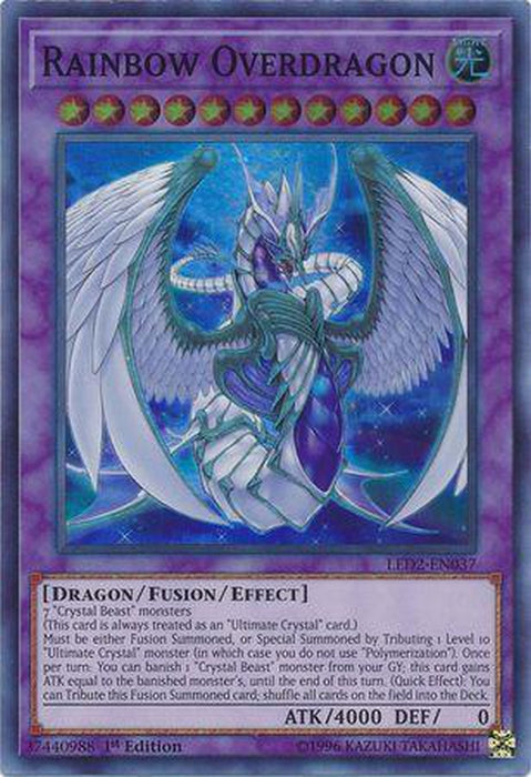 Rainbow Overdragon - LED2-EN037 - Super Rare 1st Edition-Cherry Collectables