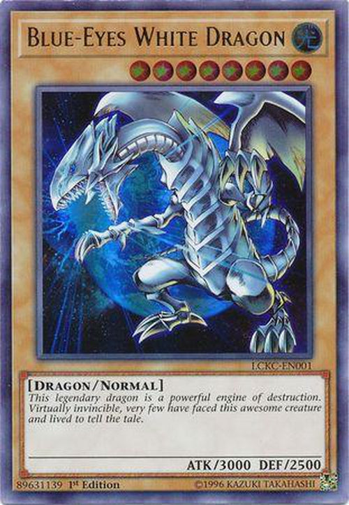 Blue-Eyes White Dragon (Earth Background) - LCKC-EN001 - Ultra Rare 1st Edition-Cherry Collectables