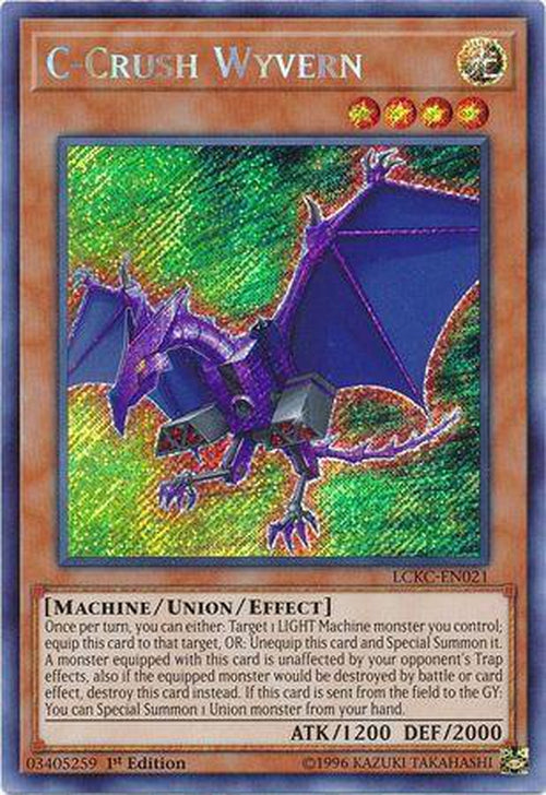 C-Crush Wyvern - LCKC-EN021 - Secret Rare 1st Edition-Cherry Collectables