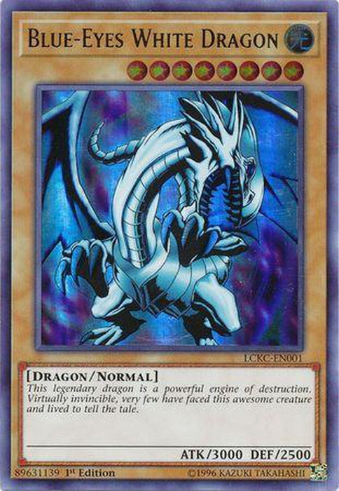 Blue-Eyes White Dragon (Red Sparks Background) - LCKC-EN001 - Ultra Rare 1st Edition-Cherry Collectables