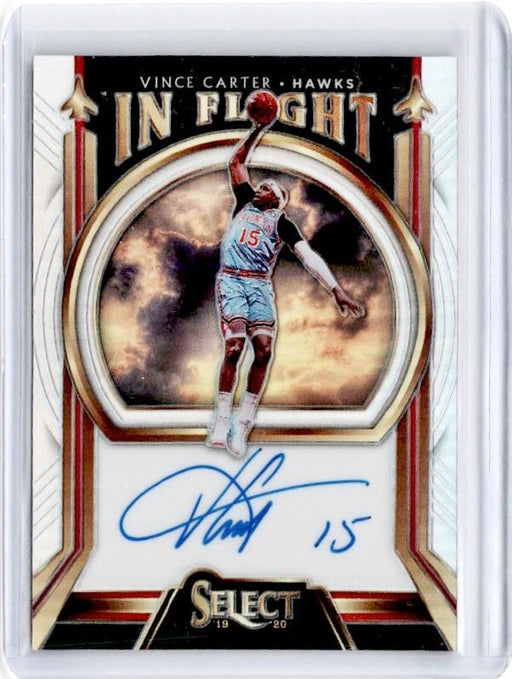 2019-20 Select VINCE CARTER In Flight Silver Prizm Auto 20/149-Cherry Collectables