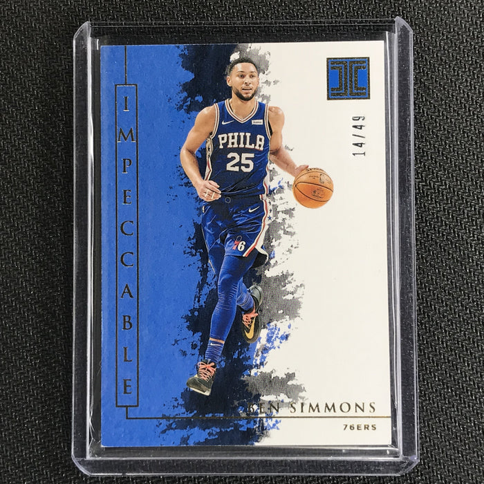 2019-20 Impeccable BEN SIMMONS Gold Base 14/49-Cherry Collectables