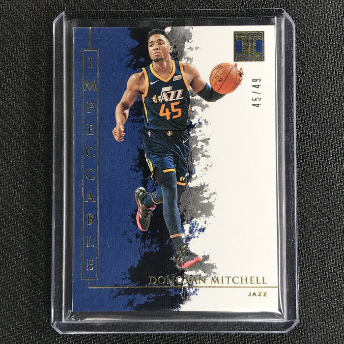 2019-20 Impeccable DONOVAN MITCHELL Gold Base 45/49 Jsy # 1/1-Cherry Collectables