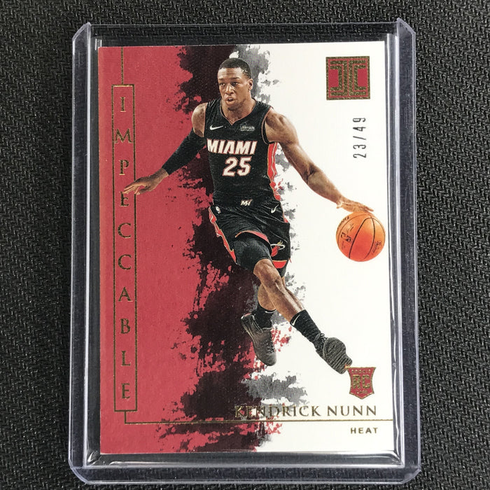 2019-20 Impeccable KENDRICK NUNN Gold Base Rookie 23/49-Cherry Collectables