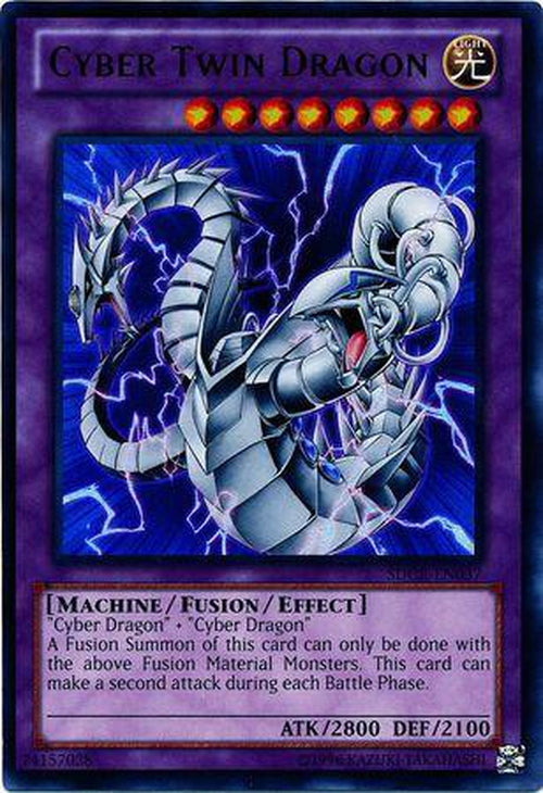 3x Cyber Twin Dragon - SDCR-EN037 - Ultra Rare Unlimited - Playset (3)-Cherry Collectables