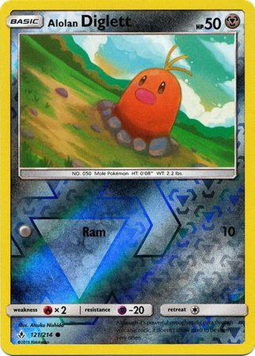 Alolan Diglett - 121/214 - Common Reverse Holo Unbroken Bonds-Cherry Collectables