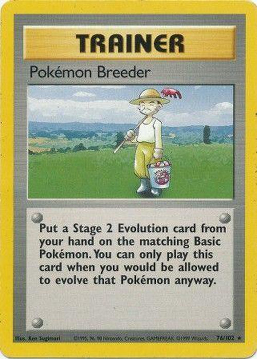 Pokemon Breeder - 76/102 - Rare - Base Set Unlimited-Cherry Collectables