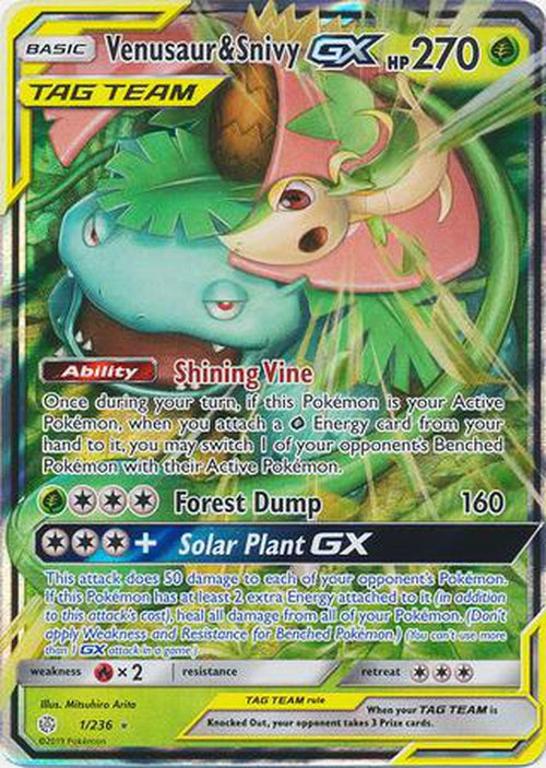 Venusaur & Snivy GX - 1/236 - Ultra Rare - Cosmic Eclipse-Cherry Collectables