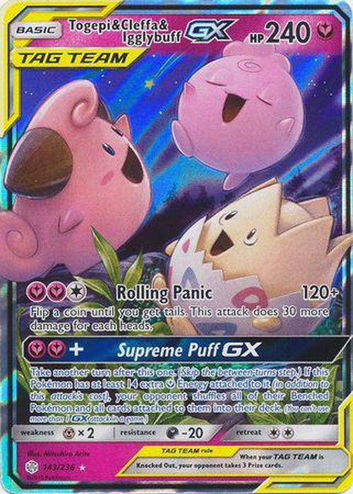 Togepi & Cleffa & Igglybuff GX - 143/236 - Ultra Rare - Cosmic Eclipse-Cherry Collectables