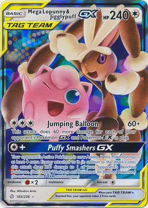 Mega Lopunny & Jigglypuff GX - 165/236 - Ultra Rare - Cosmic Eclipse-Cherry Collectables