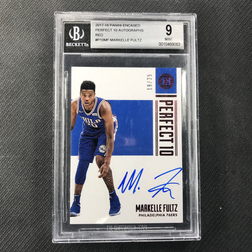 2017-18 Encased MARKELLE FULTZ Red Rookie Auto 19/25 BGS 9/10-Cherry Collectables