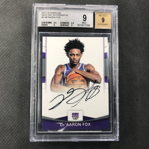 2017-18 Donruss DE'AARON FOX Next Day Auto Rookie #5 BGS 9/9-Cherry Collectables