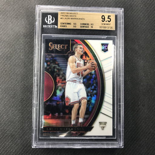 2017-18 Select LAURI MARKKANEN White Prizm Rookie 2/149 BGS 9.5 Concourse-Cherry Collectables