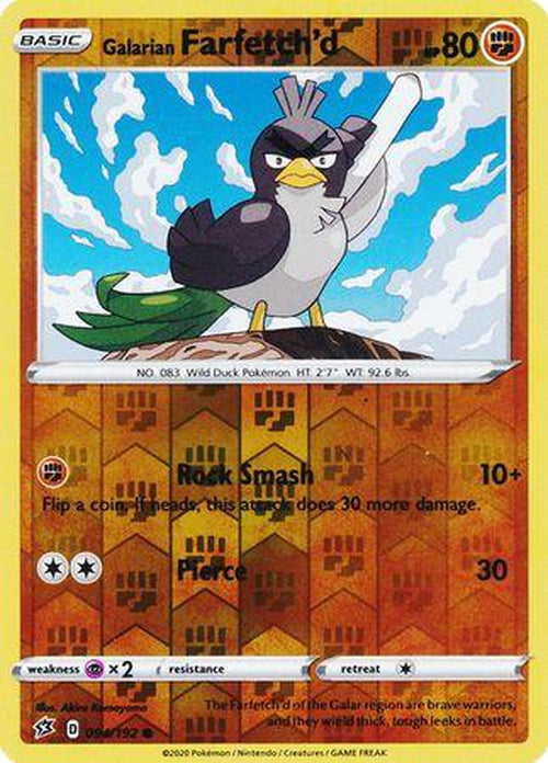 Galarian Farfetch'd - 94/192 - Common Reverse Holo - Rebel Clash-Cherry Collectables