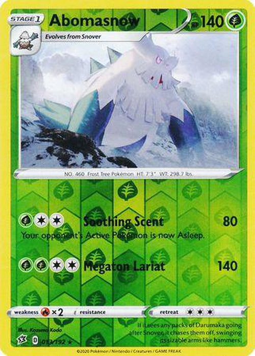 Abomasnow - 13/192 - Rare Reverse Holo - Rebel Clash-Cherry Collectables