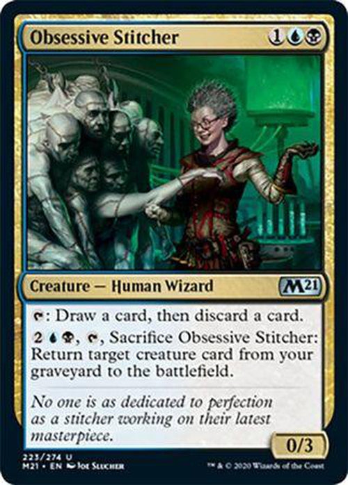 FOIL - Obsessive Stitcher 223/274 - Core Set 2021 - PLAYSET (4)-Cherry Collectables