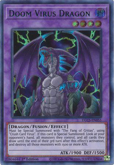 GREEN Doom Virus Dragon - DLCS-EN055 - Ultra Rare 1st Edition-Cherry Collectables