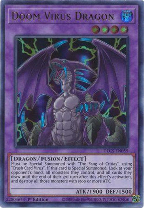PURPLE Doom Virus Dragon - DLCS-EN055 - Ultra Rare 1st Edition-Cherry Collectables