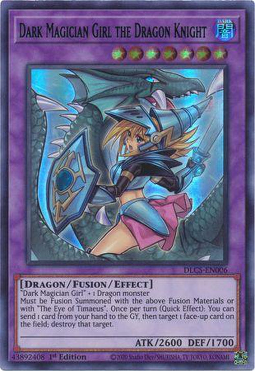 BLUE ALTERNATE ART - Dark Magician Girl the Dragon Knight - DLCS-EN006 - Ultra Rare 1st Edition-Cherry Collectables
