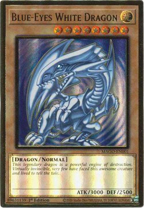 Blue-Eyes White Dragon - MAGO-EN001 - Premium Gold Rare 1st Edition-Cherry Collectables