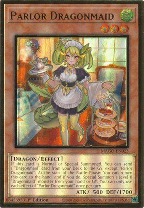 Parlor Dragonmaid - MAGO-EN023 - Premium Gold Rare 1st Edition-Cherry Collectables