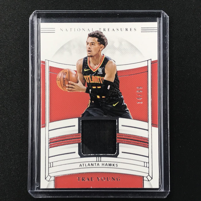 2019-20 National Treasures TRAE YOUNG Jersey Relic 14/99-Cherry Collectables
